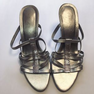 Unisa Silver Leather Strappy Metallic Wedges